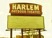 Harlem Outdoor Theatre sign and empty marquee sign (from Craig's Lost Chicago website)